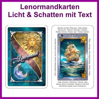 Lenormandkarten Licht und Schatten mit Text